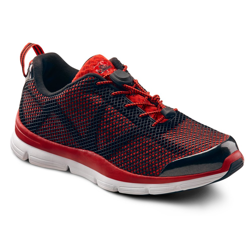 Red Dr. Comfort Jason Men's Therapeutic Extra Depth Athletic shoes Leather-and-Mesh Lace Black