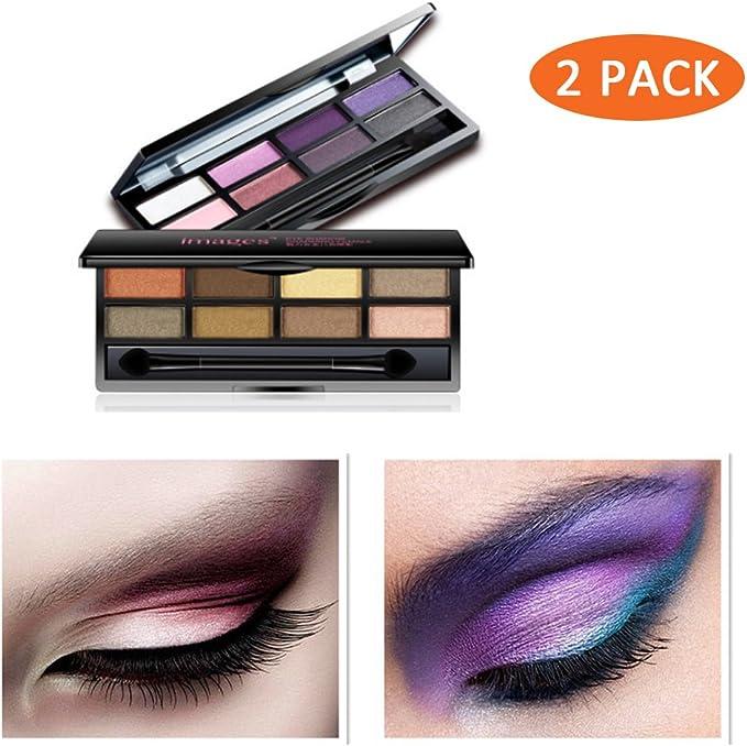 Maquillaje Sombra de Ojos palette-2 Juego de 16 colores Impermeable Natural profesional Kit de maquillaje Mate Brillante con purpurina pigmento sombra de ojos pallete Set: Amazon.es: Belleza