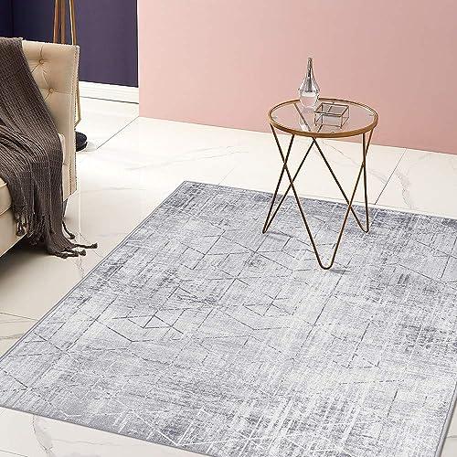 jinchan Modern Area Rug for Kitchen Geometric Print Soft Indoor Mat Vintage Triangle Tiles Design Floorcover for Bedroom Living Room Beige 3 x 5 3