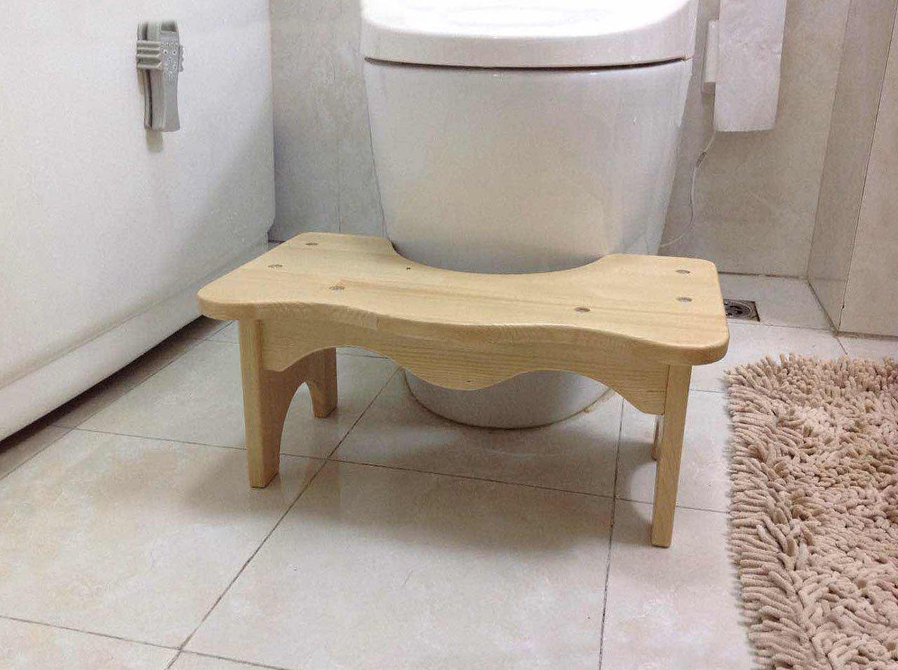 Pine Wood Toilet Step Stool Squatty Full Squat Seat Wooden Bathroom ...