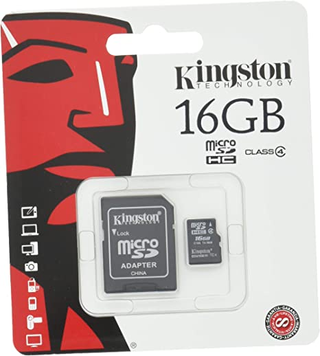 Professional Kingston 16GB MicroSDHC Card for Motorola Q Smartphone with custom formatting and Standard SD Adapter. Class 4 .