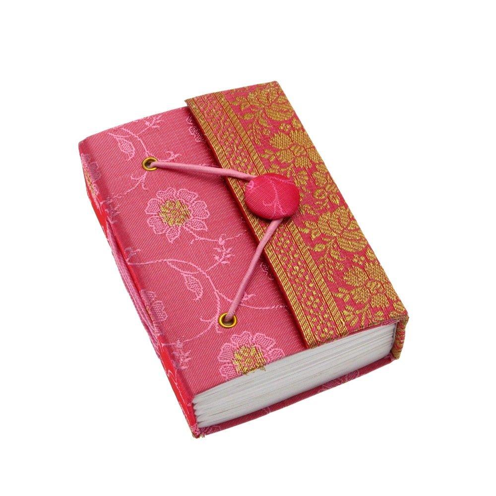Carnet de notes en sari- commerce é quitable - mini 80 x 105 mm rose