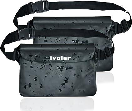 ivoler [2 Unidades Riñonera Impermeable Universal con Correa de Cintura, Bolsa Estanca para Playa, Floating, Rafting, Kayak, Senderismo, Pesca, ...