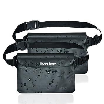 iVoler [2 Unidades] Riñonera Impermeable Universal con Correa de Cintura, Bolsa Estanca para Playa, Floating, Rafting, Kayak, Senderismo, Pesca, ...