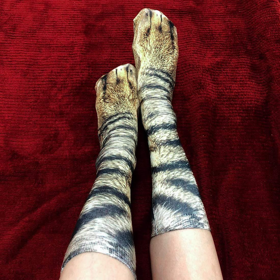Animal Paws Socks-Novelty Animal Socks Crazy 3D Cat Dog Tiger Paw Crew Socks Funny Gift for Men Women Kids