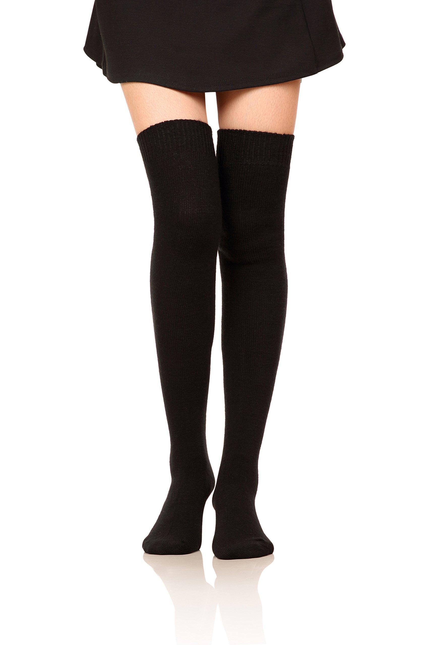 DoSmart Women Girls' Winter Warm Leggings Boot Stockings Knee High Wool Socks (Black)