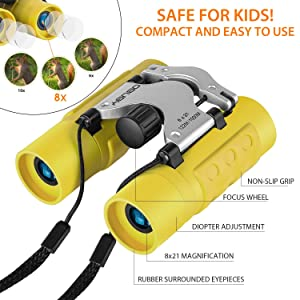 Camping Binoculars for Kids Best Gifts for 3-12 Years Boys Girls 8x21 High-Resolution Real Optics Mini Compact Binocular Toys Shockproof Folding Small Telescope for Bird Watching,Travel