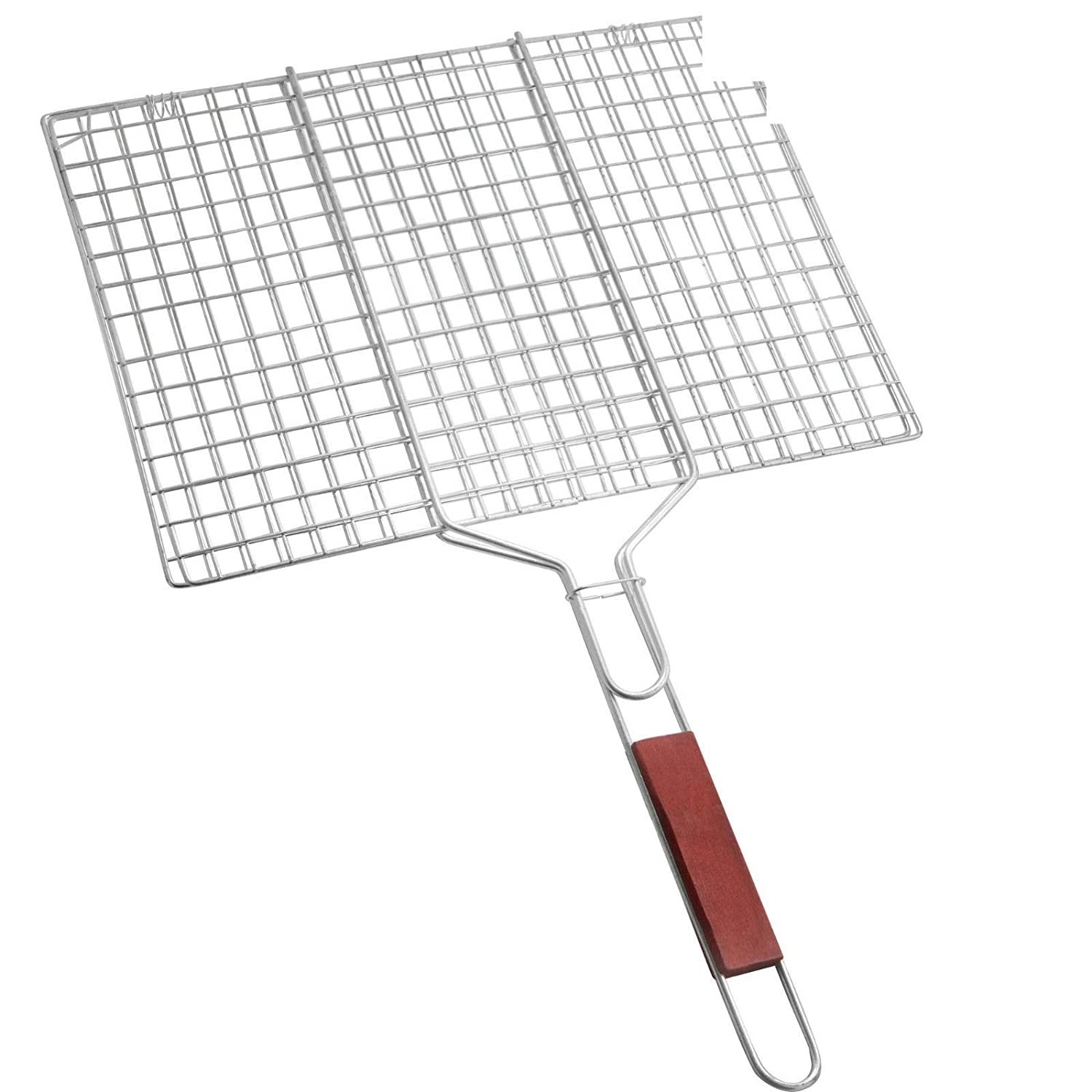 SI BBQ MEAT BURGER FISH LONG HANDLE GRILL RACK EXTRA LARGE BASKET FOLDING STAND MESH