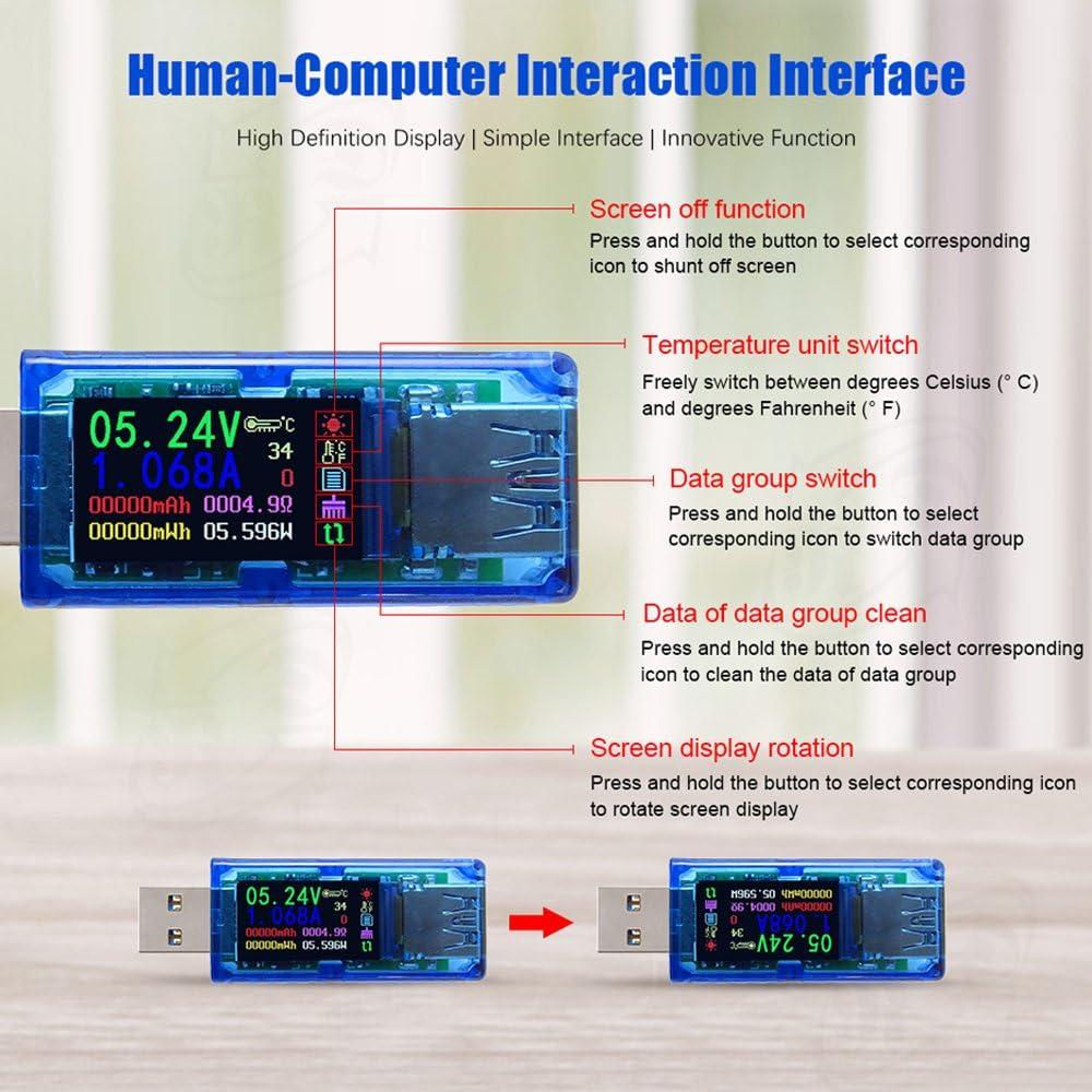 Roeam Medidor de Corriente y Voltaje USB 3.0 Electrica con Cubrir,Mult/ímetro Comprobador de Corriente Tester digital LCD Colorear alta precisi/ón 4 d/ígitos,energ/ía//temperatura//ohmmeter