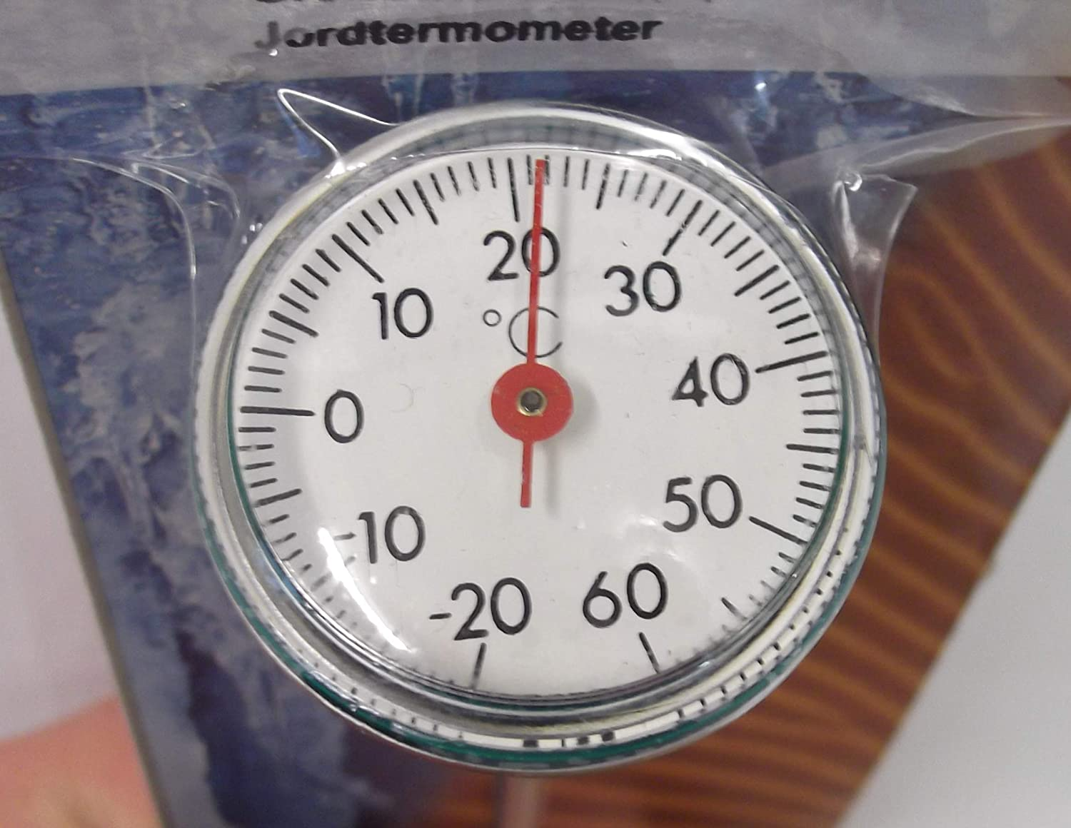 Soil thermometer with easy to read dial