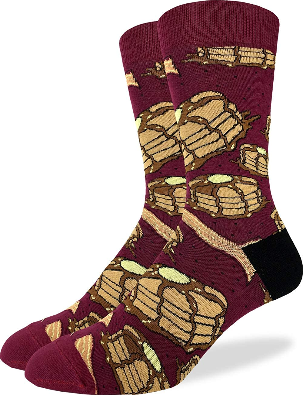 Good Luck Sock Men's Pancakes with Bacon Socks - Red, Adult Shoe Size 7-12 1394