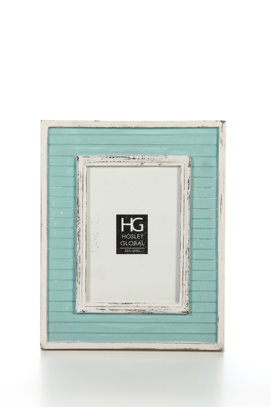 Hosley Distressed Teal Slat Board Tabletop Picture Frame, 5x7. Ideal Gift for Home, Wedding, Party. Home Office, Spa P2