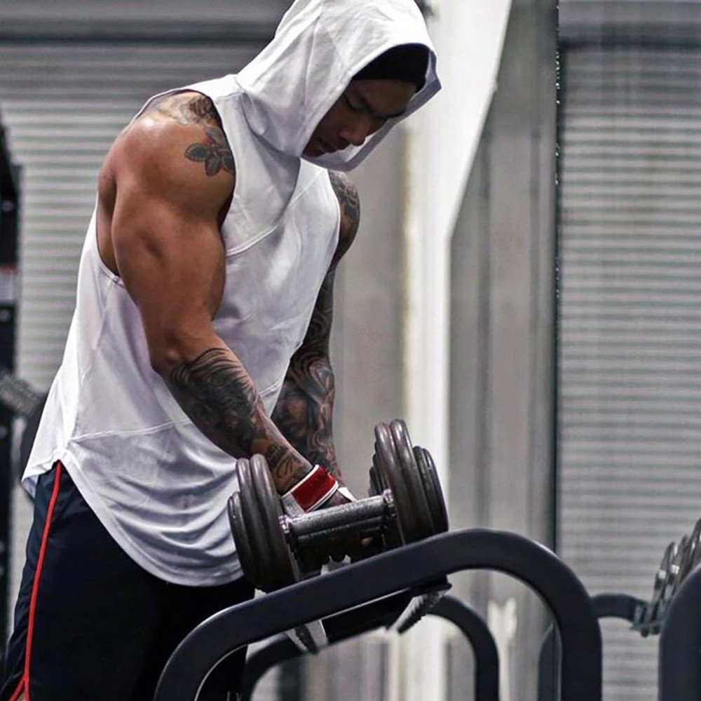 Yihaojia Men Blouse Mens Sleeveless Hoodie Gym Tank Tops Slim Fit Bodybuilding Workout Tee