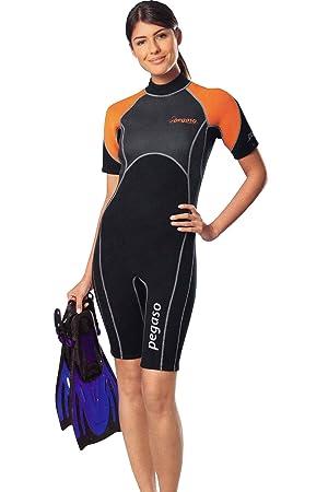 letzter Rabatt 100% Zufriedenheit verschiedene Farben Damen Neopren Shorty Pegaso Marine 3mm Neoprenanzug CellMesh Gr. XS 32-34  grau / orange