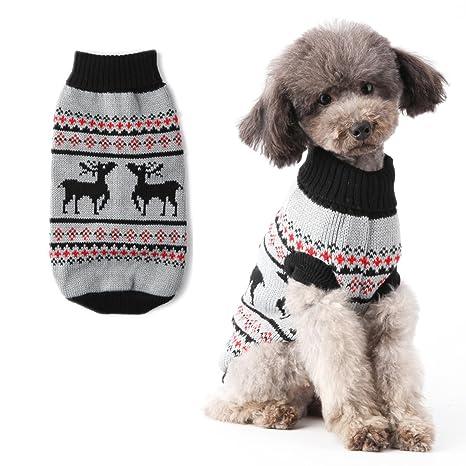 Perro Jumpers abrigo caliente para perros Navidad reno tejer patrones mascota cuello de tortuga suéter para