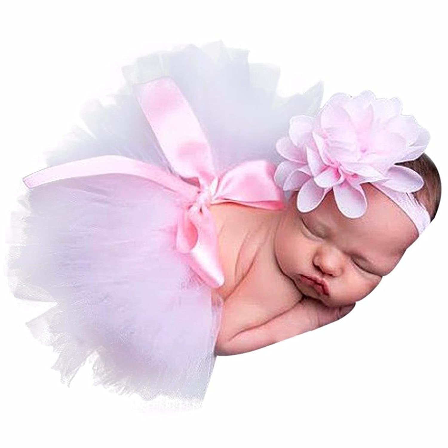 02d288cd5763 Amazon.com: BlingKingdom Newborn Baby Girls Photo Photography Prop Tutu  Skirt Dress Headband 0-4 Month (Pink): Clothing
