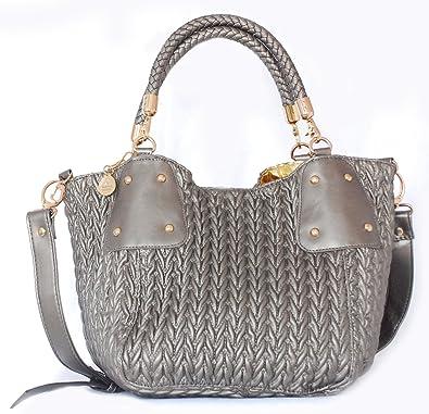 Amazon.com: Big Buddha Grey Metallic Leather Handbag - Gunmetal ... : grey quilted bag - Adamdwight.com
