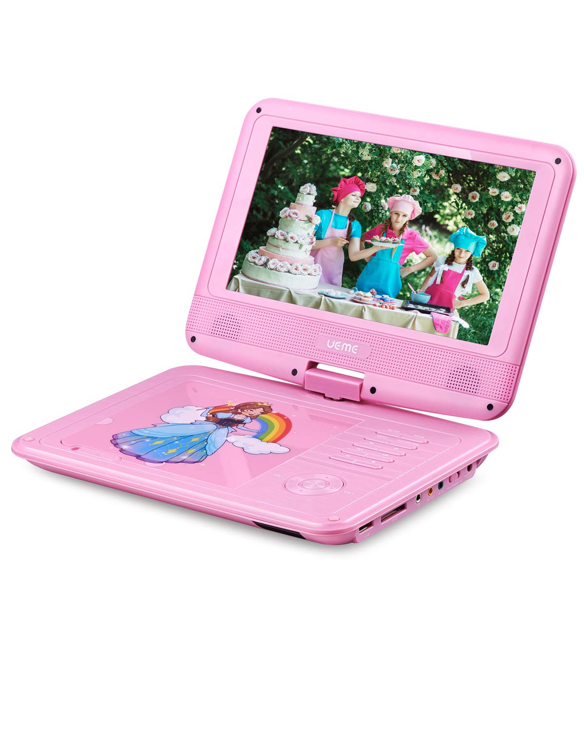 UEME Portable DVD Player with 9 inches Swivel Screen, Car Headrest Mount Holder, Remote Control, Kids DVD Player PD-0093 (Pink) by UEME