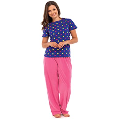d8d63cfa72 Ladies Pyjama Gift Set Pink Fleece Trousers   Blue Apples Print T-Shirt Top  12