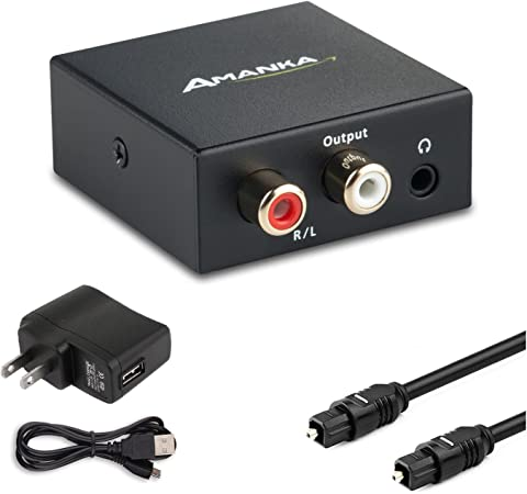 BianchiPamela Digital to Analog Audio Converter Adapter Optical Toslink /& Coaxial R//L