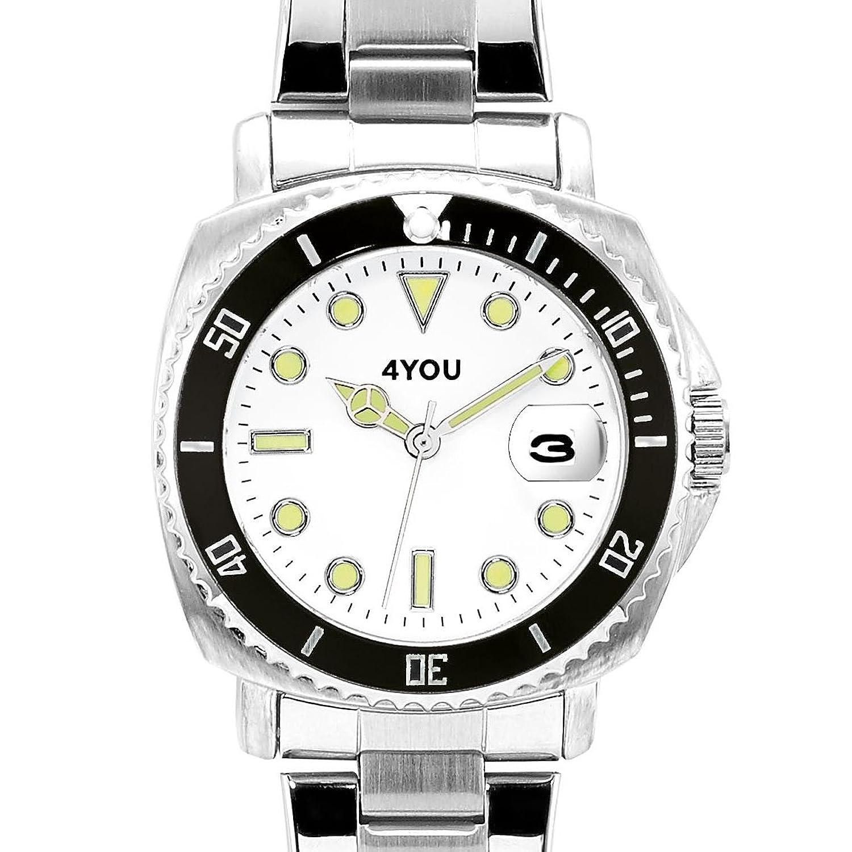 4 YOU Herren-Armbanduhr Analog Quarz Edelstahl 250006000