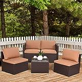 COSTWAY Patio Rattan Sets Furniture Sofa Set Wicker Weave Conservatory Luxury Garden Indoor Outdoor