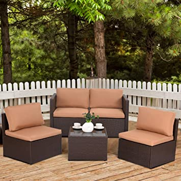 Costway Patio Rattan Sets Furniture Sofa Set Wicker Weave