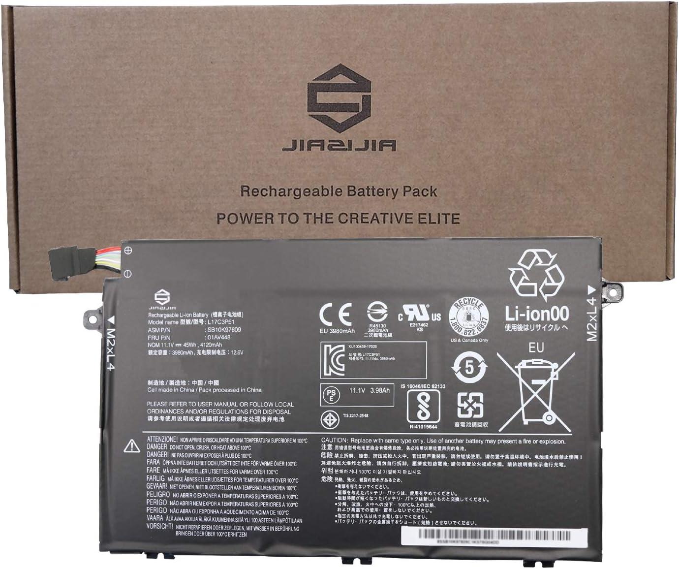 JIAZIJIA 01AV448 Laptop Battery Replacement for Lenovo ThinkPad E480 E485 E495 E580 E585 E490 E590 E595 Series SB10K97609 L17C3P51 L17M3P52 SB10K97608 01AV447 L17L3P51 01AV445 01AV446 11.1V 45Wh