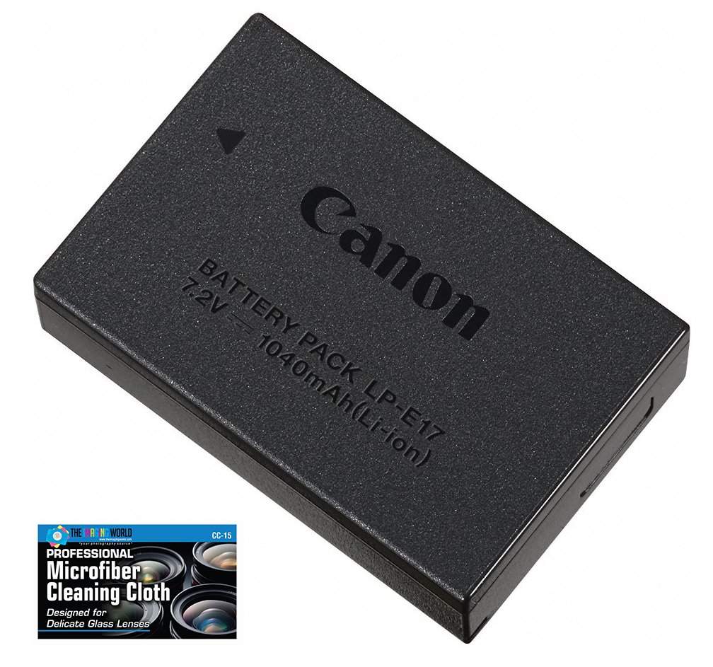 Canon LP-E17 Rechargeable Lithium-Ion Battery Pack for Canon EOS RP, 77D, M6, M5, M3, Rebel T7i, T6i, T6s, SL3, SL2 Camera Kit - Retail Packaging -with Micro Fiber Cloth by The Imaging World