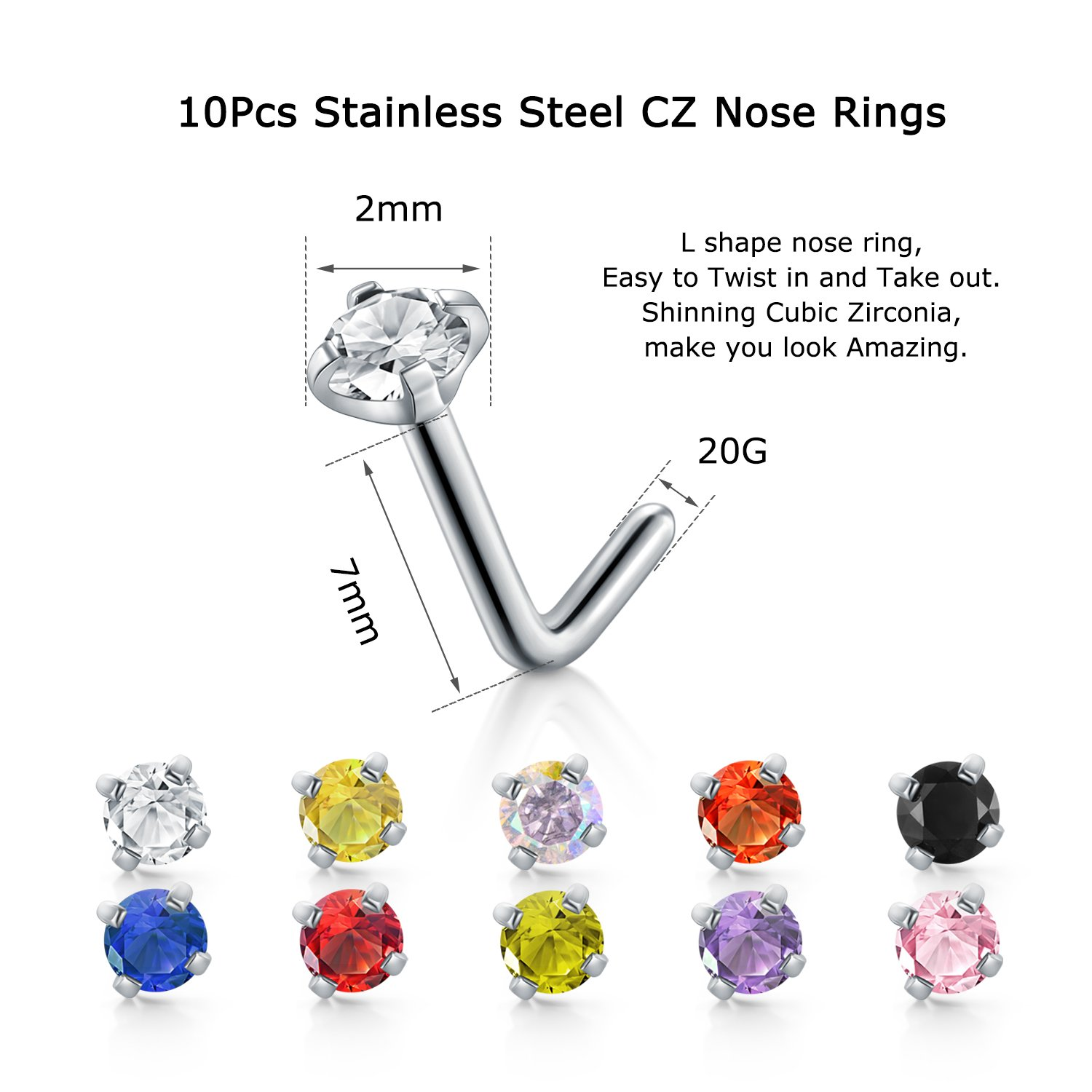 Amazoncom Qwalit 20g Nose Studs Surgical Steel Nose Rings Cz