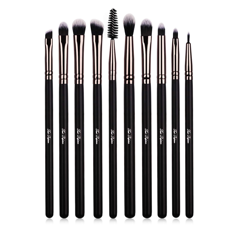 Eye Makeup Brushes, 10pcs Makeup Brushes Set with Eyeshadow, Eyebrow, Eyeliner, Blending, Contour Make UP Brushes Kit - for Shading & Blending of Eyeshadow Cream Powder Highlighter