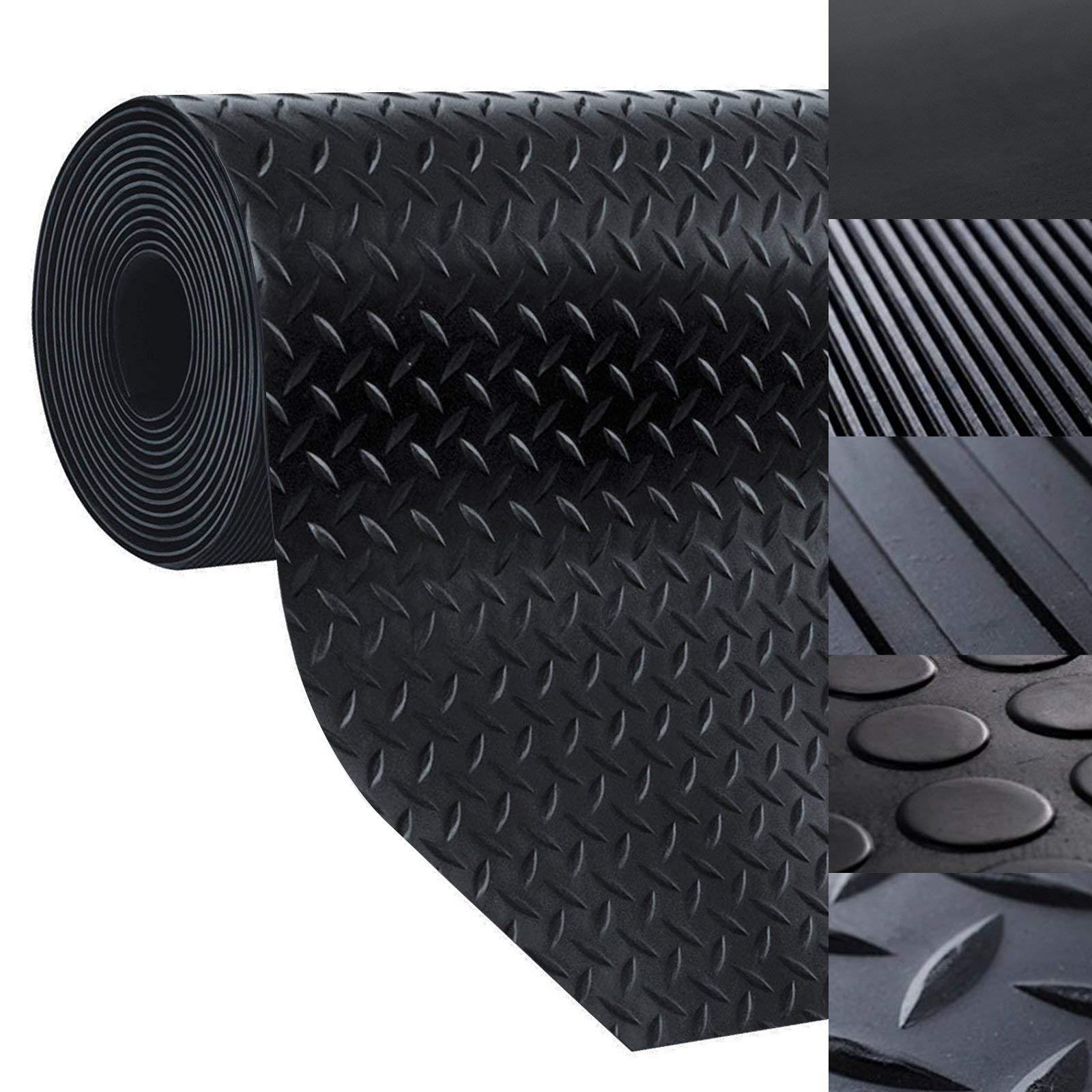 casa pura Rubber Floor Mat – Anti Slip Rubber Sheet | Suitable as Garage Floor Mat, Horse Stall Mat or Workbench Mat | Many Sizes to Choose from | Diamond | 1/8'' Thick - 40'' x 1'