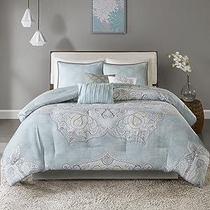 Madison Park Lucinda 7 Piece Reversible Cotton Sateen Comforter Set for Bedroom, King Size, Seafoam
