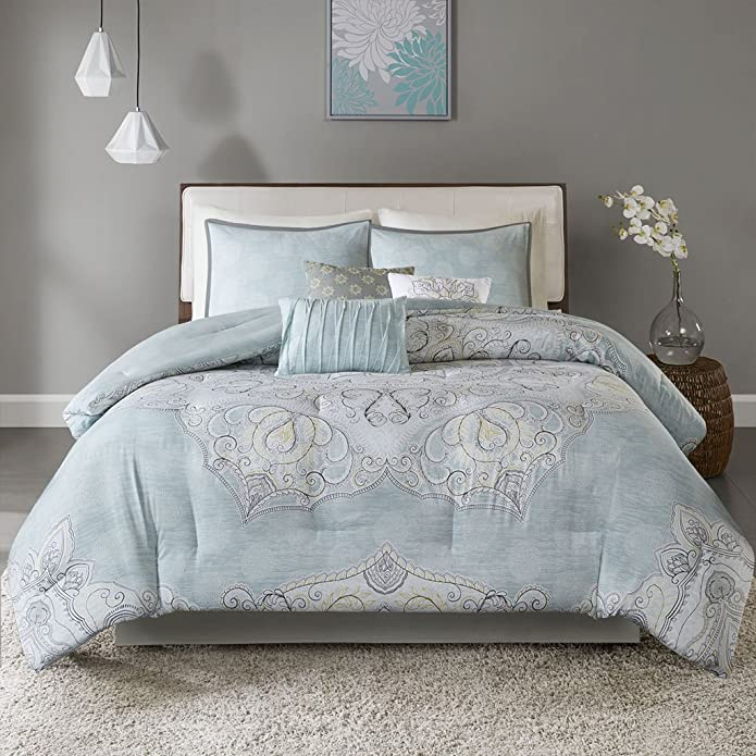 Blue Leslie Reversible Cotton Sateen Comforter Set (Queen) 7pc