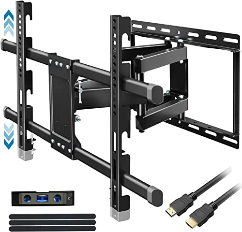 Everstone Heavy Duty TV Wall Mount for 32-83 TVs Dual Articulating Arm Tilt Swivel Full Motion Bracket Fit Most LED, LCD and Plasma Flat Screen TVs,Curved TV,Up to VESA 600X400mm,99 LBS,HDMI Cable