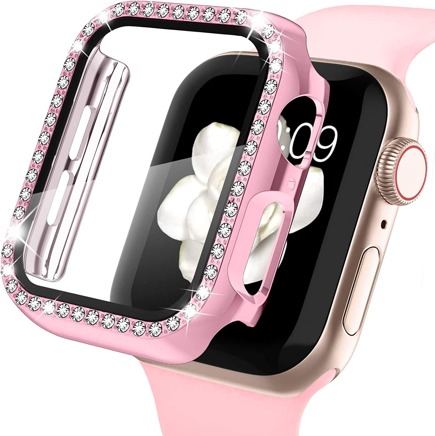 Recoppa Apple Watch Case with Screen Protector for Apple Watch 38mm Series 3/2/1, Bling Crystal Diamond Rhinestone Ultra-Thin Bumper Full Cover Protective Case for Women Girls iWatch Rosepink
