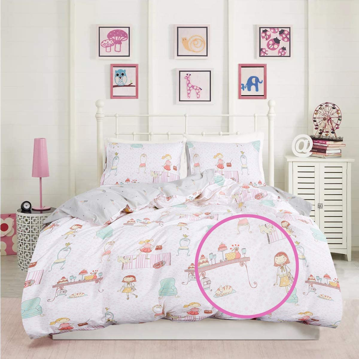 Wellboo Girls Bedding Sets White and Pink Pets Duvet Covers Cartoon Animals Cotton Quilt Covers Queen Full Kids Children Reversible Quilts Covers Lipstick Cats Dorm Soft Health Durable No Insert