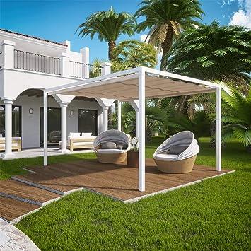 QEEQ.IT Arianna pérgola retráctil 3 x 3 - Estructura Blanca/Tela Beige Aluminio: Amazon.es: Jardín