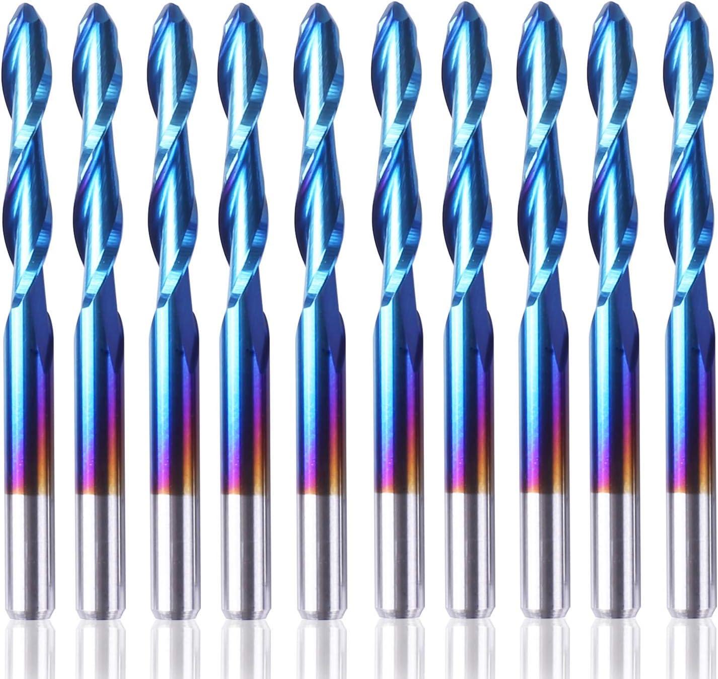 3.175 x 17 x 38mm SainSmart Genmitsu 10Pcs Nano Blue Coat Flat Nose End Mill CNC Router Bits 1//8 Shank Spiral Upcut 2 Flute End Mill Set