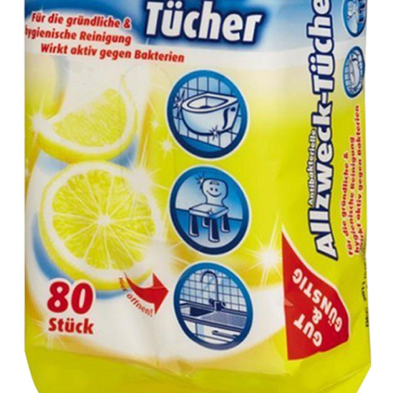 contenuto 3 x 80 pcs 3 Pack - Con un fresco profumo di limone per Se panni antibatterico in dispenser 80 pcs