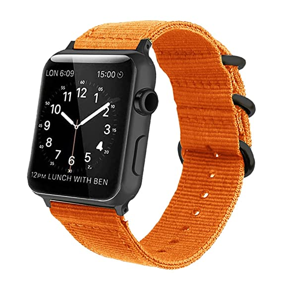 48aa39575de Orange Nylon Compatible Apple Watch Band 38mm 42mm NATO Replacement Wrist  Woven Strap with Black