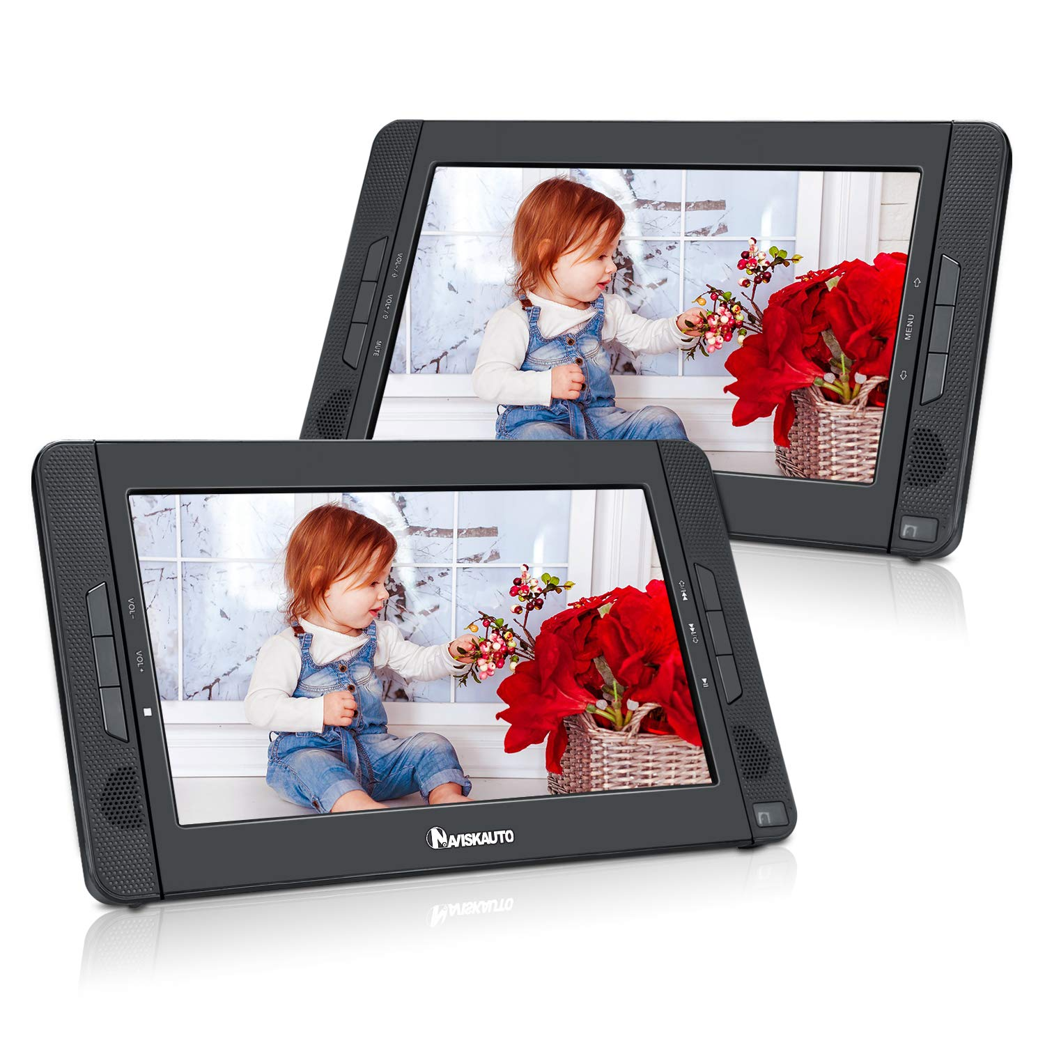NAVISKAUTO 10.1'' Portable DVD Player Dual Screen for Car, Headrest Video Player with 5-Hour Rechargeable Battery, Sync Playing on Both Screens