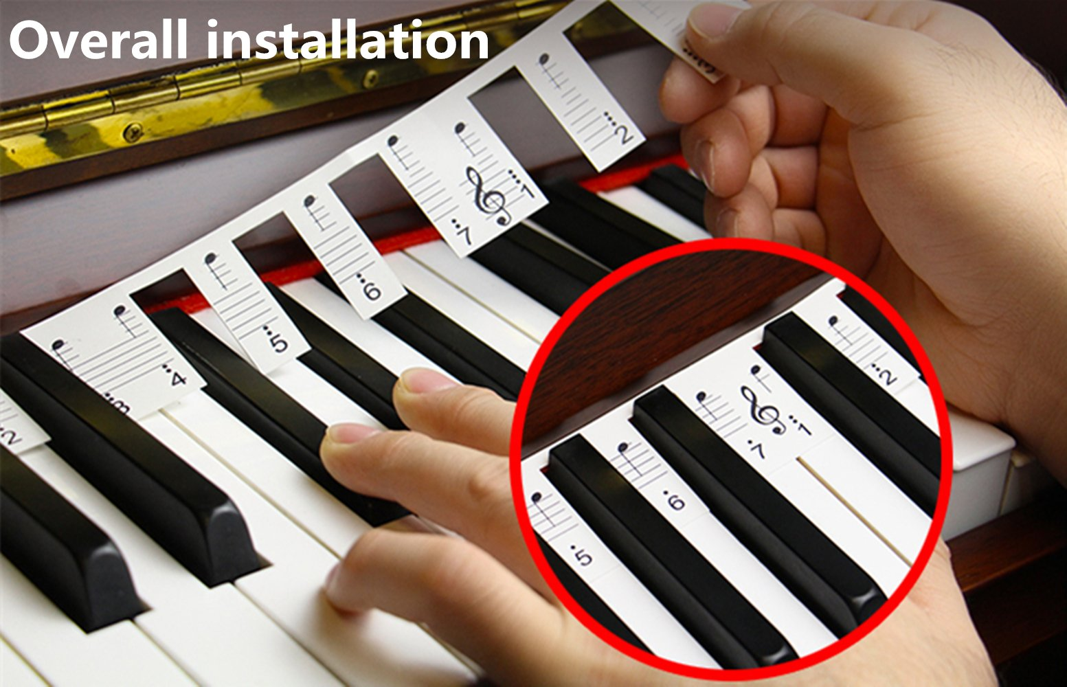 Piano Stickers for Learning Piano or Keyboard ,Overall Installation,No Glue ,No Need to Cut,Easy to Carry ,Reusable, Upgraded Version and Good Quality