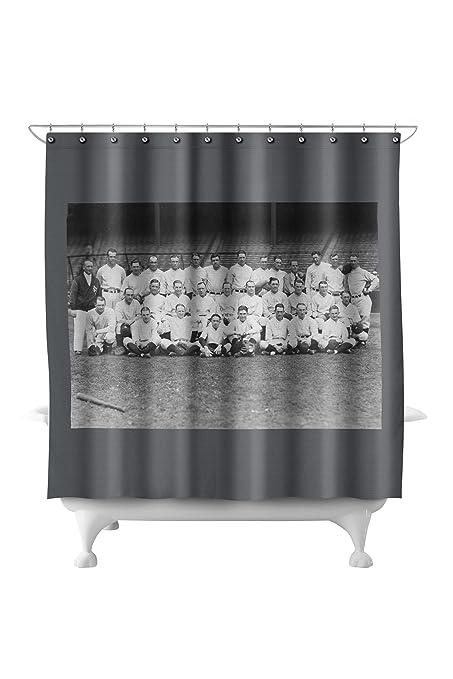 New York Yankees Team Baseball Photo 71x74 Polyester Shower Curtain