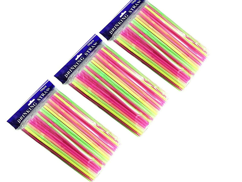 Striped Multi Colored BPA-Free Disposable Bendy Straw 8 Long Plain, 100 Golden Beads Flexible Plastic Straws 100-300 Packs