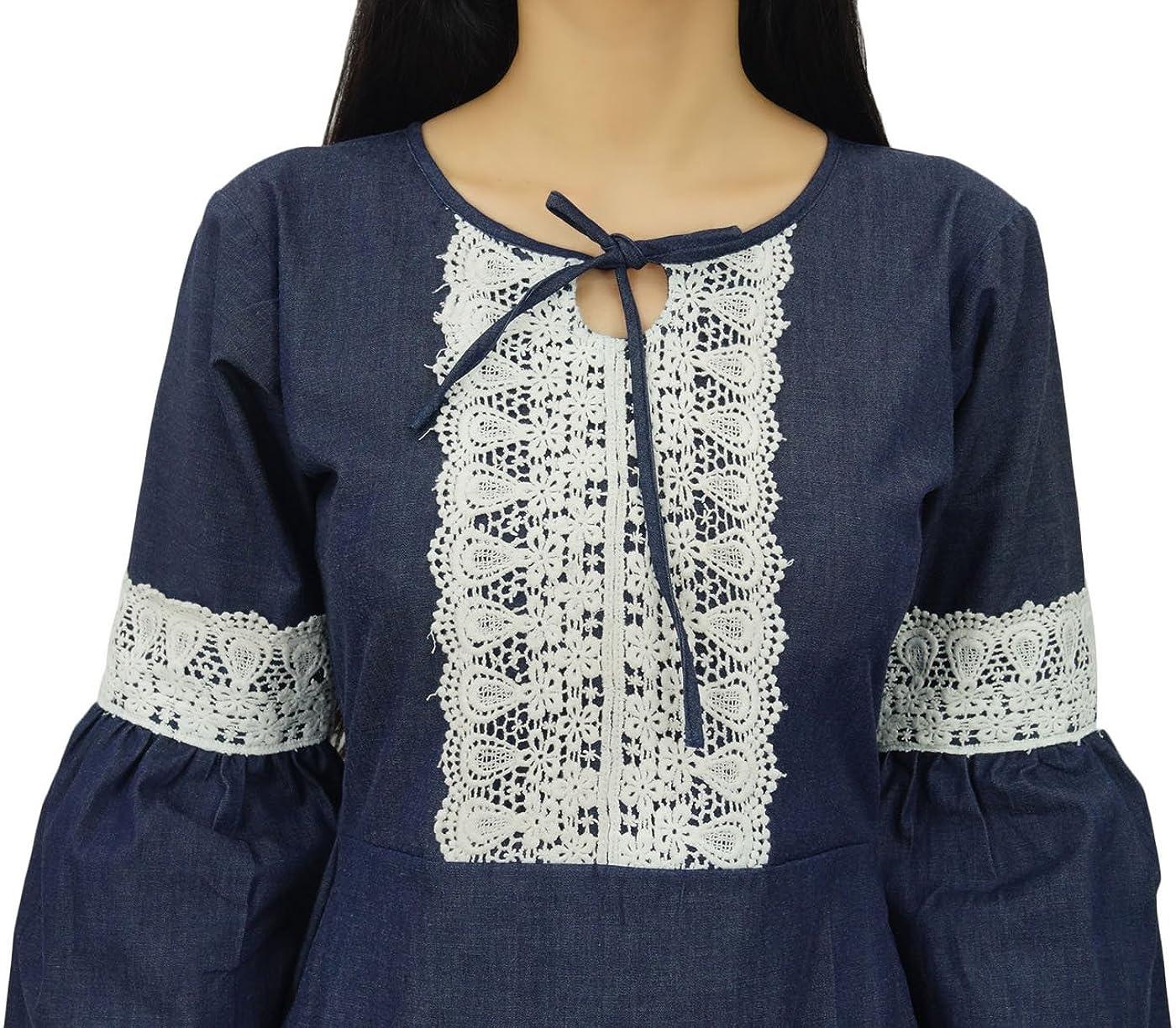 Bimba Womens Retro Style Denim Dress Mid-Calf Boho Dress with Lace Detail