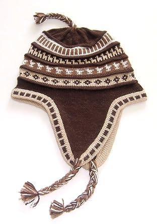 246697e0738 Alpakaandmore Mens Andean Alpaca Wool Chullo Hat Ear Flips One Size Brown