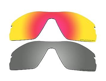 2 pares polarizadas lentes de repuesto rojo y negro espejo para Oakley Radar Pitch – Gafas