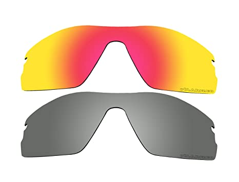 532b4808df Image Unavailable. Image not available for. Color  2 Pairs Polarized  Replacement Lenses Red   Black Mirror for Oakley Radar Pitch Sunglasses