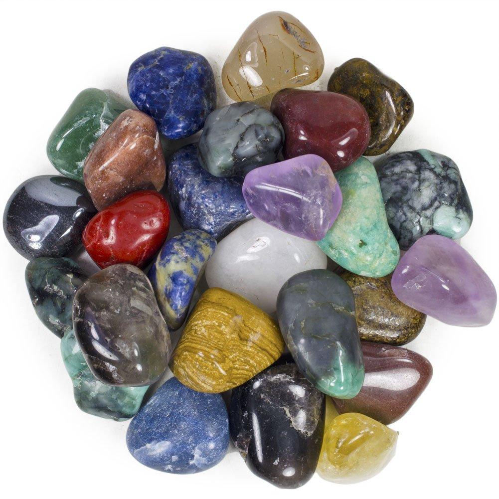 2 Pounds Brazilian Tumbled Polished Natural Stones Assorted Mix - Medium Size - 1'' to 1.5'' Avg.